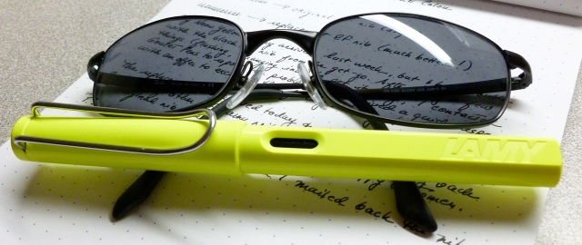 Neon Lamy + Ray-Bans