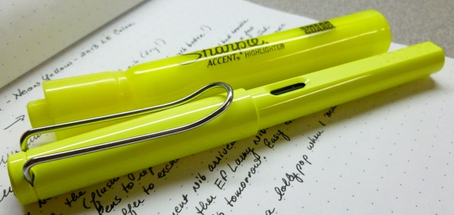 Neon Lamy vs. highlighter
